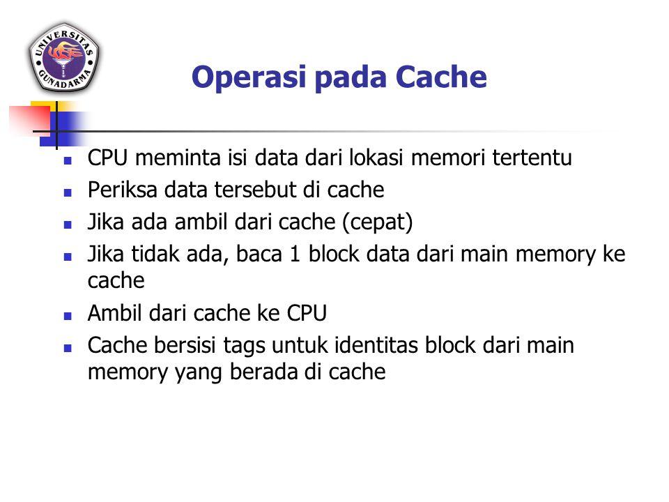 Operasi pada Cache CPU meminta isi data dari lokasi memori tertentu Periksa data tersebut di cache Jika ada ambil dari cache (cepat) Jika tidak ada, b