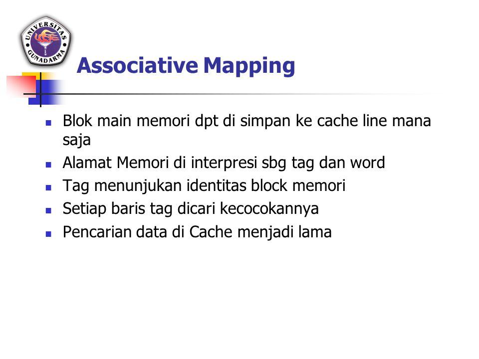 Associative Mapping Blok main memori dpt di simpan ke cache line mana saja Alamat Memori di interpresi sbg tag dan word Tag menunjukan identitas block