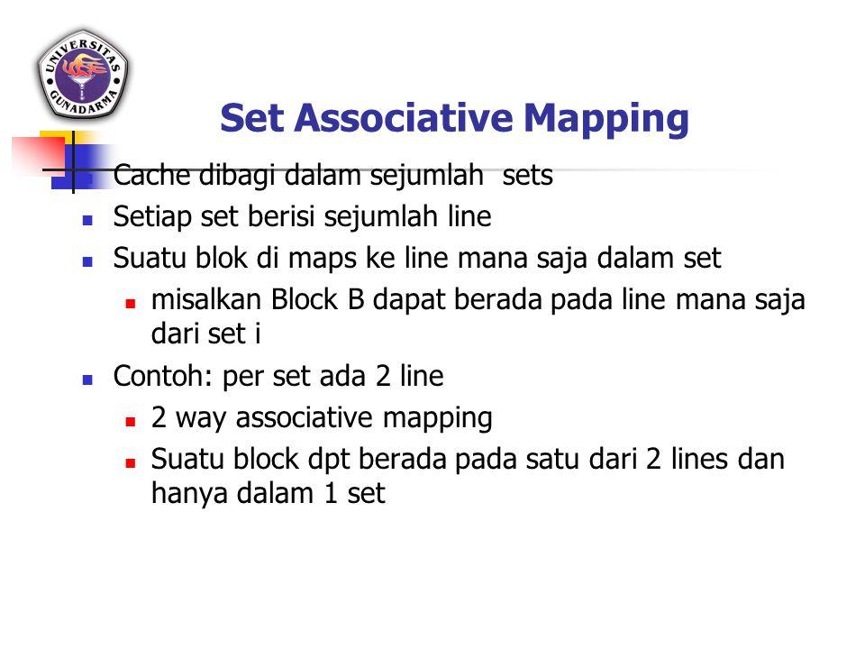 Set Associative Mapping Cache dibagi dalam sejumlah sets Setiap set berisi sejumlah line Suatu blok di maps ke line mana saja dalam set misalkan Block