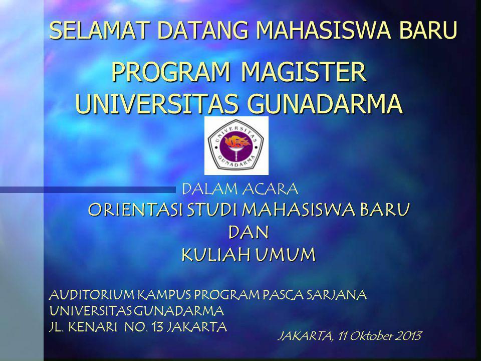 SELAMAT DATANG MAHASISWA BARU PROGRAM MAGISTER UNIVERSITAS GUNADARMA ORIENTASI STUDI MAHASISWA BARU DAN KULIAH UMUM DALAM ACARA AUDITORIUM KAMPUS PROGRAM PASCA SARJANA UNIVERSITAS GUNADARMA JL.