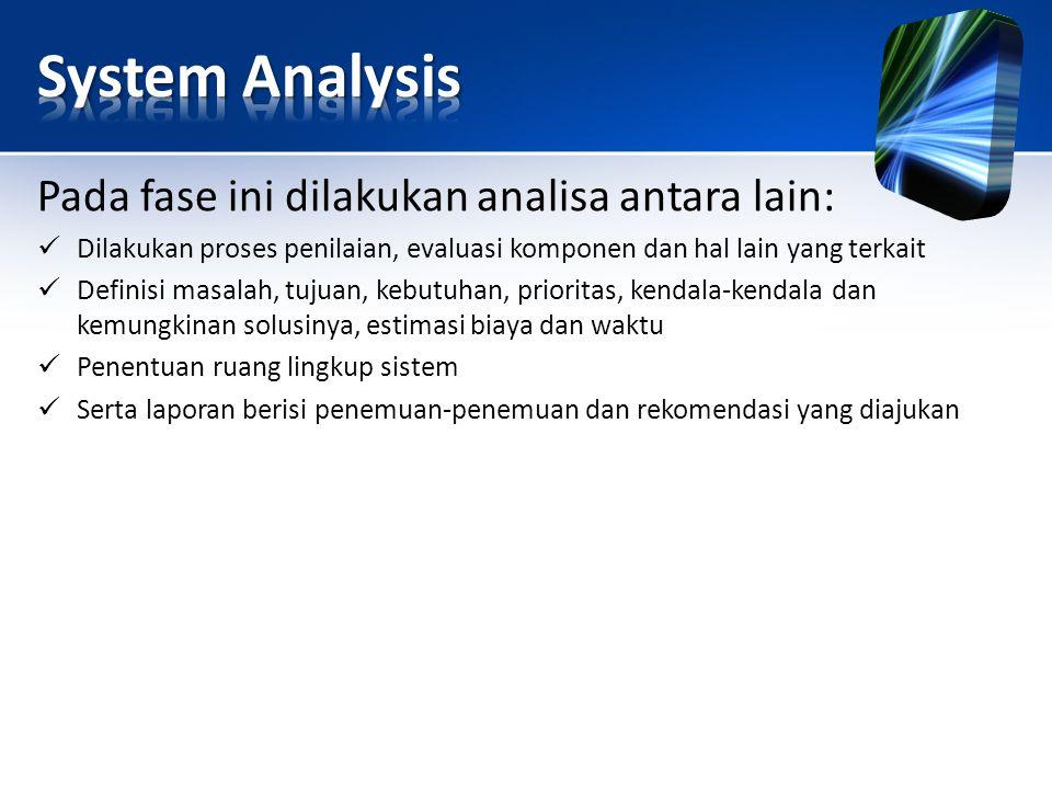 Pada fase ini dilakukan analisa antara lain: Dilakukan proses penilaian, evaluasi komponen dan hal lain yang terkait Definisi masalah, tujuan, kebutuh