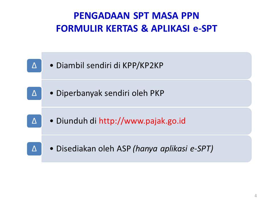 PENGADAAN SPT MASA PPN FORMULIR KERTAS & APLIKASI e-SPT 4 Diambil sendiri di KPP/KP2KP ∆ Diperbanyak sendiri oleh PKP ∆ Diunduh di http://www.pajak.go