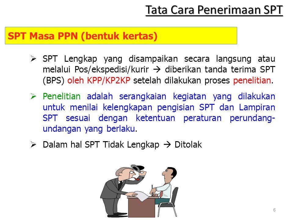  SPT Lengkap yang disampaikan secara langsung atau melalui Pos/ekspedisi/kurir  diberikan tanda terima SPT (BPS) oleh KPP/KP2KP setelah dilakukan pr