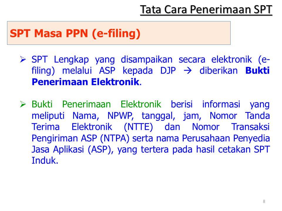 SPT Masa PPN (e-filing)  SPT Lengkap yang disampaikan secara elektronik (e- filing) melalui ASP kepada DJP  diberikan Bukti Penerimaan Elektronik. 
