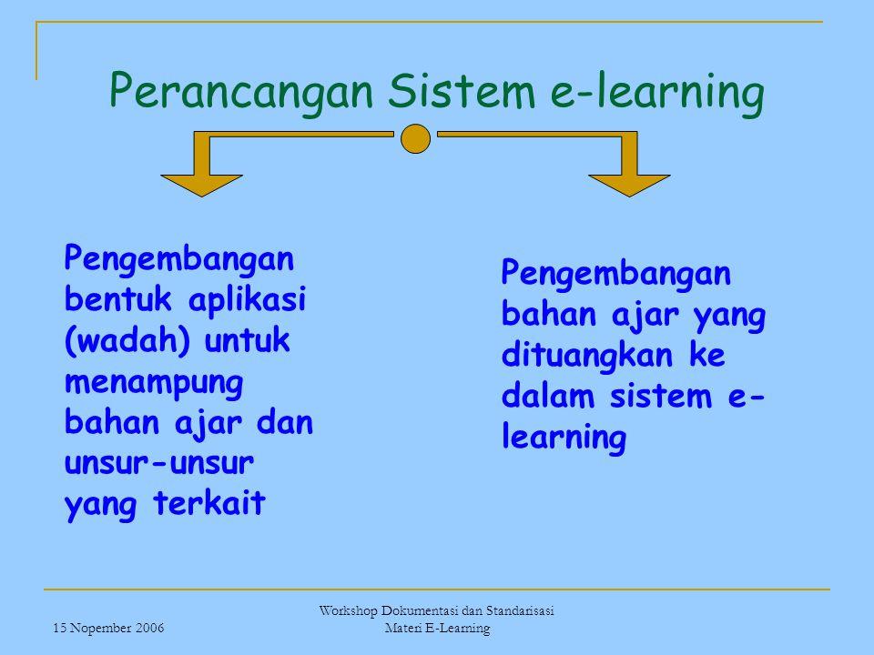 15 Nopember 2006 Workshop Dokumentasi dan Standarisasi Materi E-Learning Perancangan Sistem e-learning Pengembangan bentuk aplikasi (wadah) untuk mena