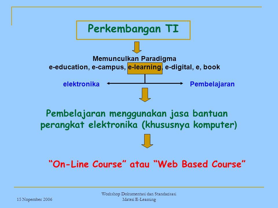 15 Nopember 2006 Workshop Dokumentasi dan Standarisasi Materi E-Learning Perkembangan TI Memunculkan Paradigma e-education, e-campus, e-learning, e-di
