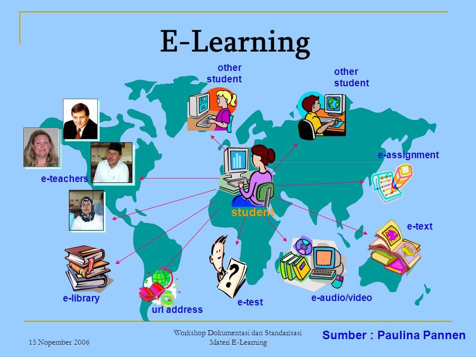 15 Nopember 2006 Workshop Dokumentasi dan Standarisasi Materi E-Learning student e-assignment e-text e-audio/video e-test url address e-library e-teac