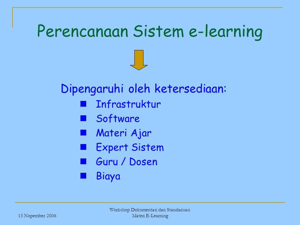 15 Nopember 2006 Workshop Dokumentasi dan Standarisasi Materi E-Learning Perencanaan Sistem e-learning Dipengaruhi oleh ketersediaan: Infrastruktur So