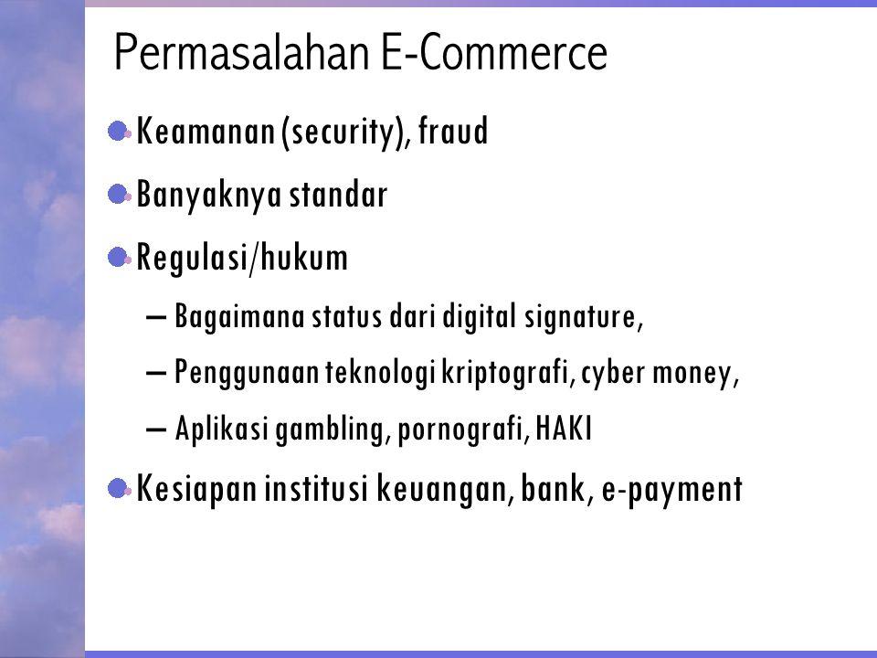 Permasalahan E-Commerce Keamanan (security), fraud Banyaknya standar Regulasi/hukum –Bagaimana status dari digital signature, –Penggunaan teknologi kr