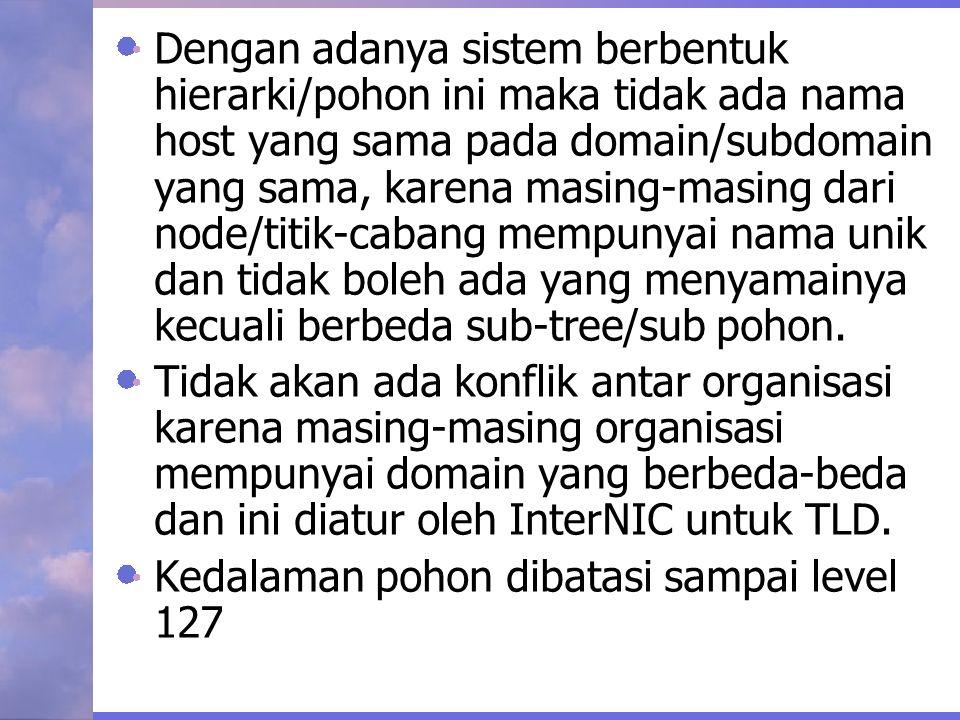 Dengan adanya sistem berbentuk hierarki/pohon ini maka tidak ada nama host yang sama pada domain/subdomain yang sama, karena masing-masing dari node/t