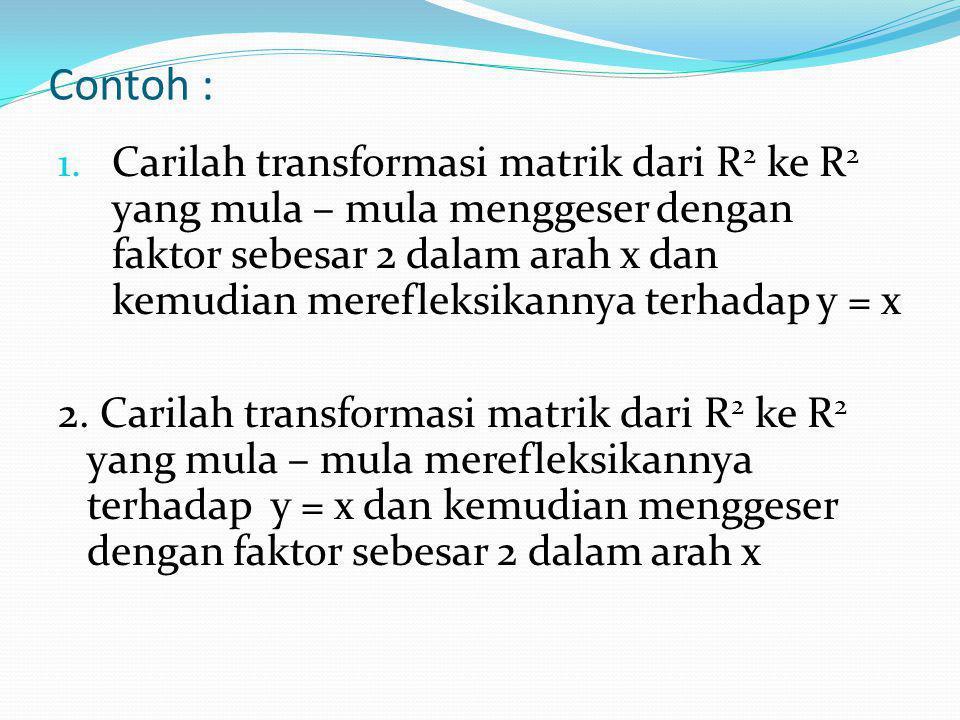 Jika dilakukan banyak sekali transformasi matrik dari R n ke R m secara berturutan, maka hasil yang sama dapat dicapai dengan transformasi matrik tung