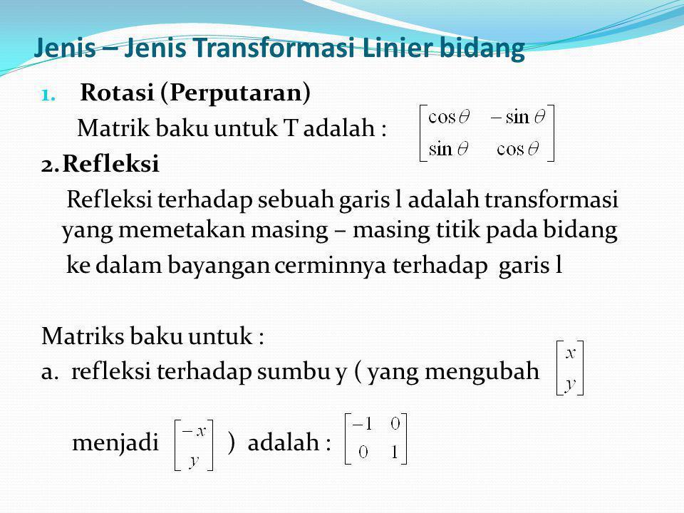 Transformasi Linier dari R n  R m Misalkan e 1, e 2,..., e n adalah basis baku untuk R n dan misalkan A adalah sebuah matrik m x n yang mempunyai T(e