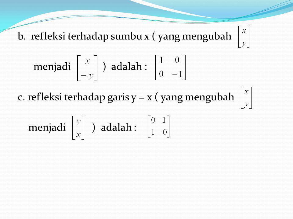 Jenis – Jenis Transformasi Linier bidang 1. Rotasi (Perputaran) Matrik baku untuk T adalah : 2.Refleksi Refleksi terhadap sebuah garis l adalah transf