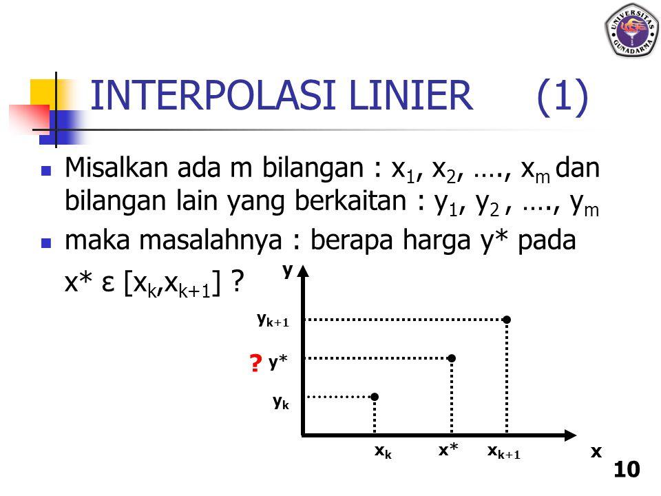 10 INTERPOLASI LINIER (1) Misalkan ada m bilangan : x 1, x 2, …., x m dan bilangan lain yang berkaitan : y 1, y 2, …., y m maka masalahnya : berapa ha
