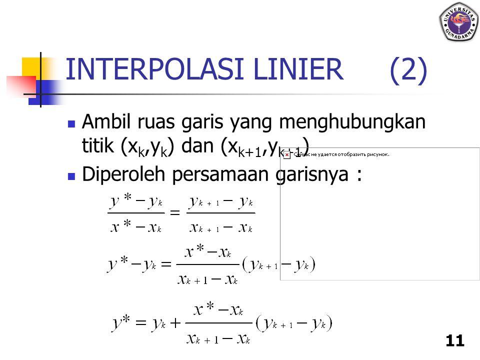 11 Ambil ruas garis yang menghubungkan titik (x k,y k ) dan (x k+1,y k+1 ) Diperoleh persamaan garisnya : INTERPOLASI LINIER (2)