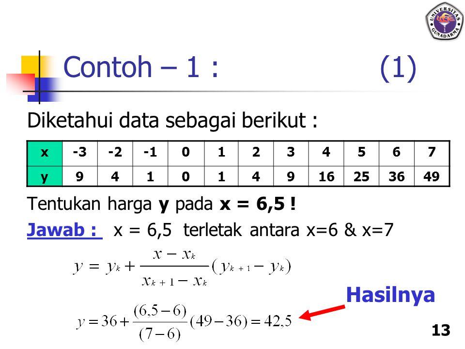13 Diketahui data sebagai berikut : Tentukan harga y pada x = 6,5 ! Jawab : x = 6,5 terletak antara x=6 & x=7 Contoh – 1 : (1) x-3-201234567 y94101491