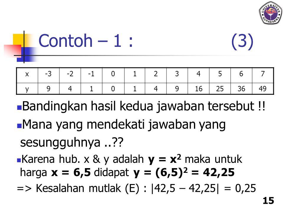 15 Bandingkan hasil kedua jawaban tersebut !! Mana yang mendekati jawaban yang sesungguhnya..?? Karena hub. x & y adalah y = x 2 maka untuk harga x =