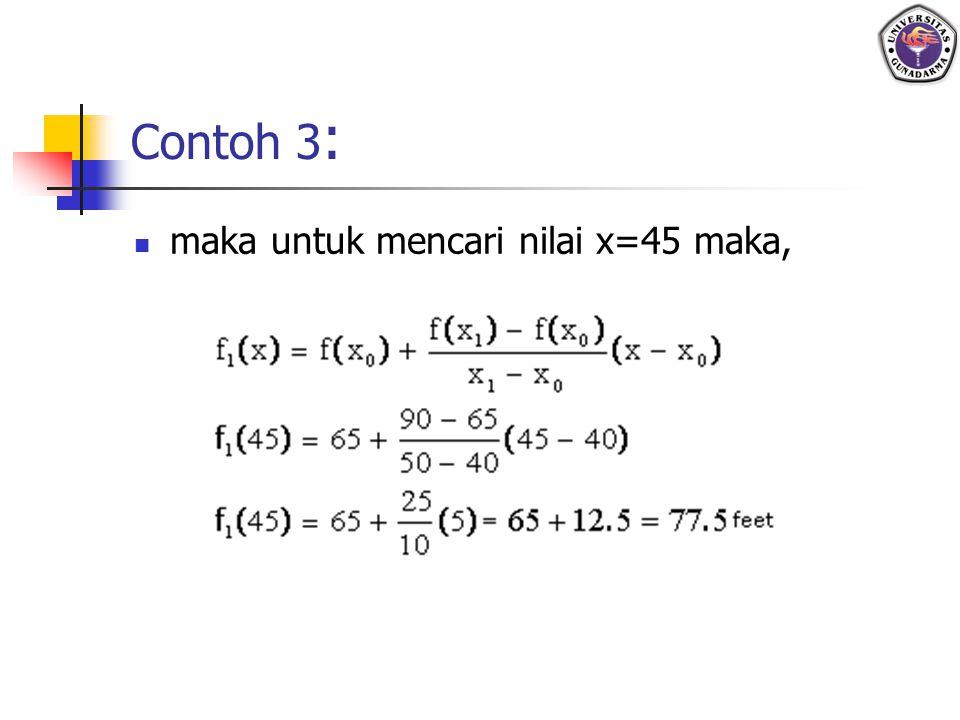 Contoh 3 : maka untuk mencari nilai x=45 maka,