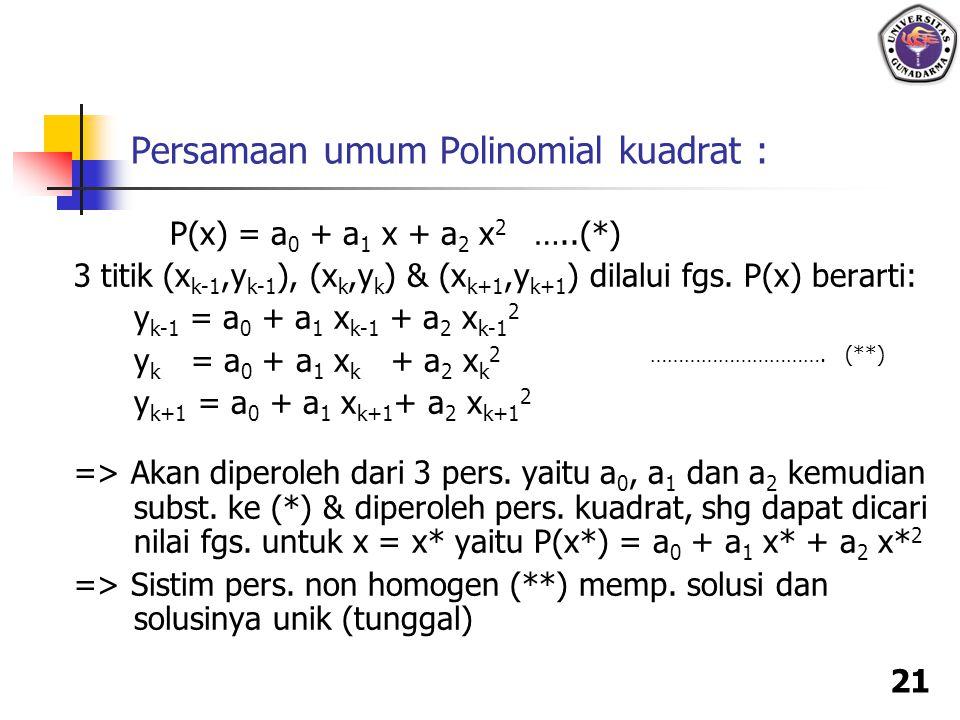 21 Persamaan umum Polinomial kuadrat : P(x) = a 0 + a 1 x + a 2 x 2 …..(*) 3 titik (x k-1,y k-1 ), (x k,y k ) & (x k+1,y k+1 ) dilalui fgs. P(x) berar