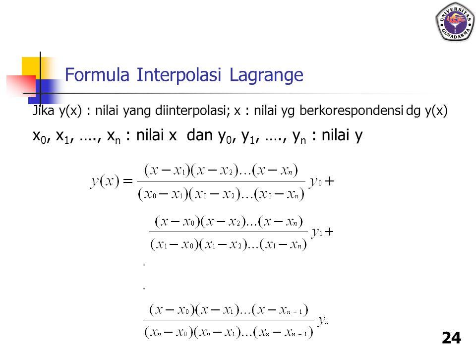 24 Formula Interpolasi Lagrange Jika y(x) : nilai yang diinterpolasi; x : nilai yg berkorespondensi dg y(x) x 0, x 1, …., x n : nilai x dan y 0, y 1,