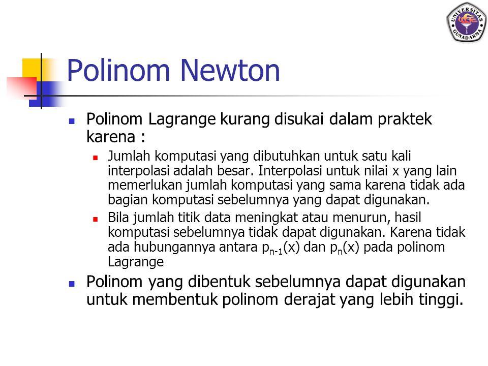 Polinom Newton Polinom Lagrange kurang disukai dalam praktek karena : Jumlah komputasi yang dibutuhkan untuk satu kali interpolasi adalah besar. Inter