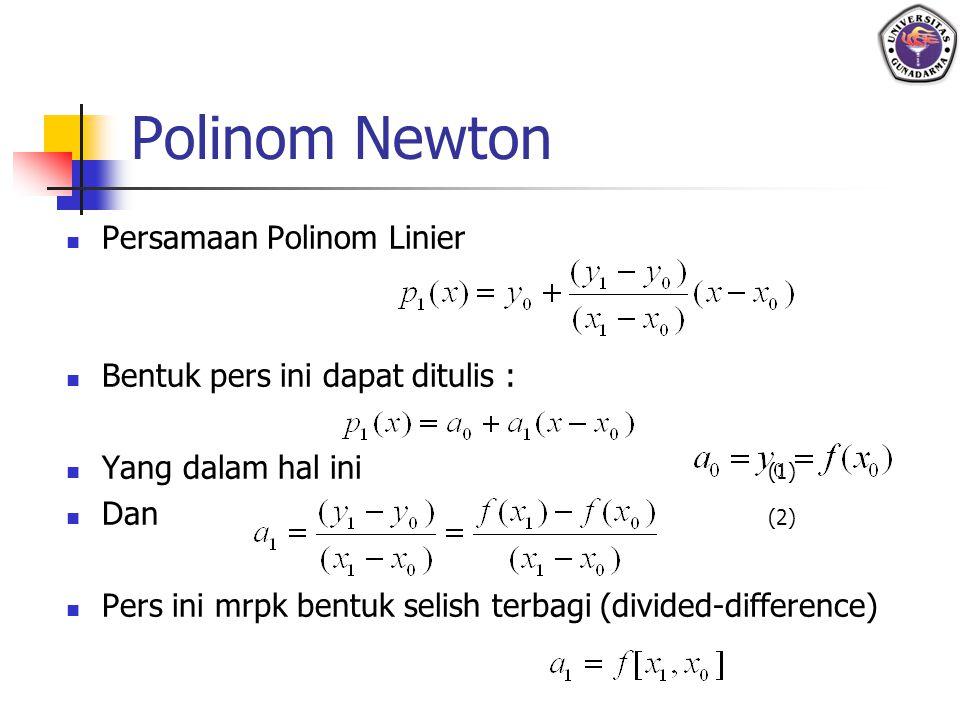 Polinom Newton Persamaan Polinom Linier Bentuk pers ini dapat ditulis : Yang dalam hal ini (1) Dan (2) Pers ini mrpk bentuk selish terbagi (divided-di