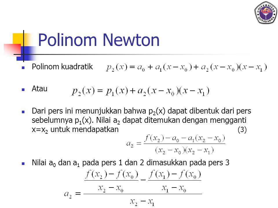 Polinom Newton Polinom kuadratik Atau Dari pers ini menunjukkan bahwa p 2 (x) dapat dibentuk dari pers sebelumnya p 1 (x). Nilai a 2 dapat ditemukan d