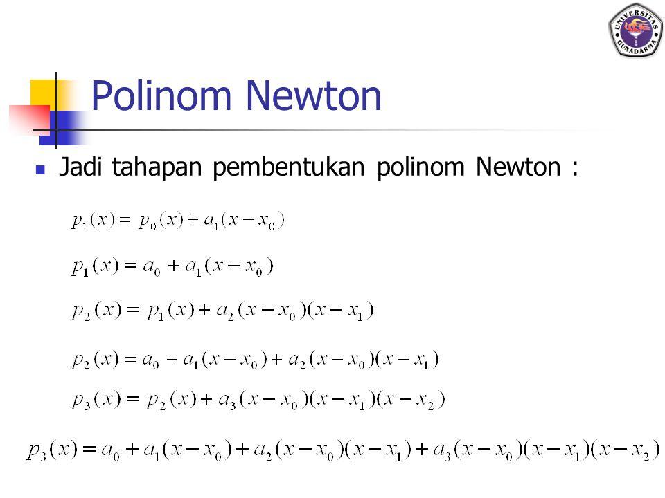 Polinom Newton Jadi tahapan pembentukan polinom Newton :