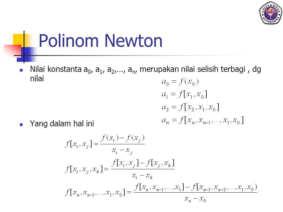 Polinom Newton Nilai konstanta a 0, a 1, a 2,…, a n, merupakan nilai selisih terbagi, dg nilai Yang dalam hal ini