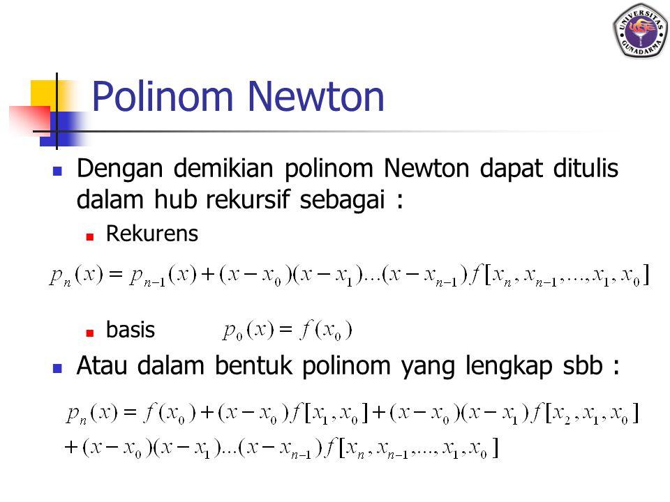 Polinom Newton Dengan demikian polinom Newton dapat ditulis dalam hub rekursif sebagai : Rekurens basis Atau dalam bentuk polinom yang lengkap sbb :