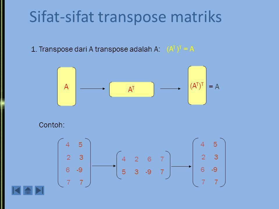 Transpose Definisi: Transpose mariks A adalah matriks A T dimana kolom-kolomnya adalah baris-baris dari A, baris-barisnya adalah kolom-kolom dari A.