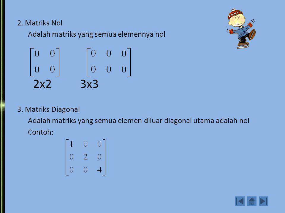 Jenis Matriks Khusus 1. Matriks bujur sangkar Adalah suatu matriks dengan banyaknya baris sama dengan banyaknya kolom Contoh elemen diagonal utama