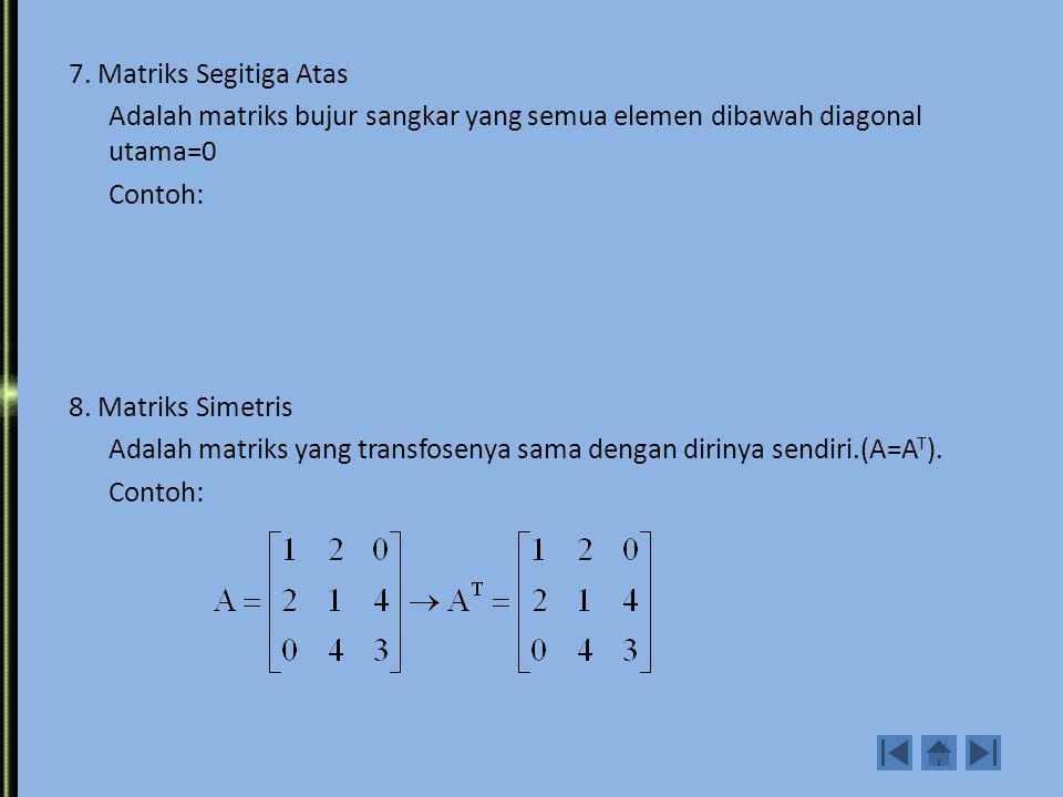 4. Matriks Identitas Adalah matriks diagonal yang elemen diagonal utamanya semua=1 Contoh: 5. Matriks Skalar Adalah matriks diagonal dengan semua elem