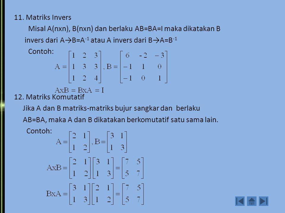 9. Matriks Anti Simetris Adalah matriks yang transfosenya adalah negatifnya. Contoh: 10. Matriks Hermitian Adalah matriks yang transfose hermitiannya