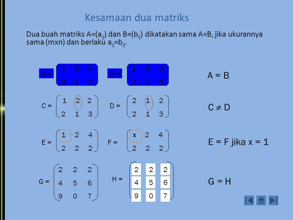 Kesamaan dua matriks Dua buah matriks A=(a ij ) dan B=(b ij ) dikatakan sama A=B, jika ukurannya sama (mxn) dan berlaku a ij =b ij.