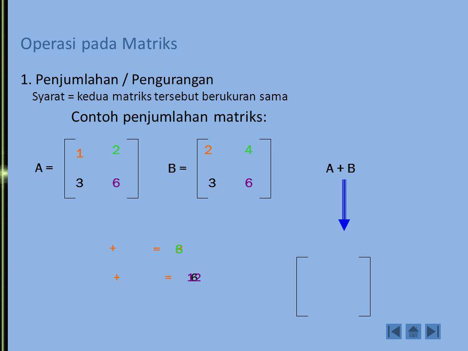 Kesamaan dua matriks Dua buah matriks A=(a ij ) dan B=(b ij ) dikatakan sama A=B, jika ukurannya sama (mxn) dan berlaku a ij =b ij. 1 2 4 2 1 3 A = 1