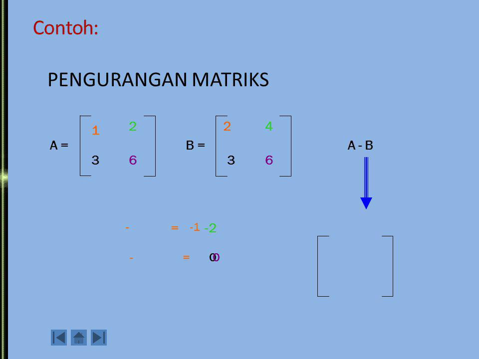 Contoh penjumlahan matriks: Operasi pada Matriks 1. Penjumlahan / Pengurangan Syarat = kedua matriks tersebut berukuran sama A + B 1 2 6 3 2 4 6 3 A =