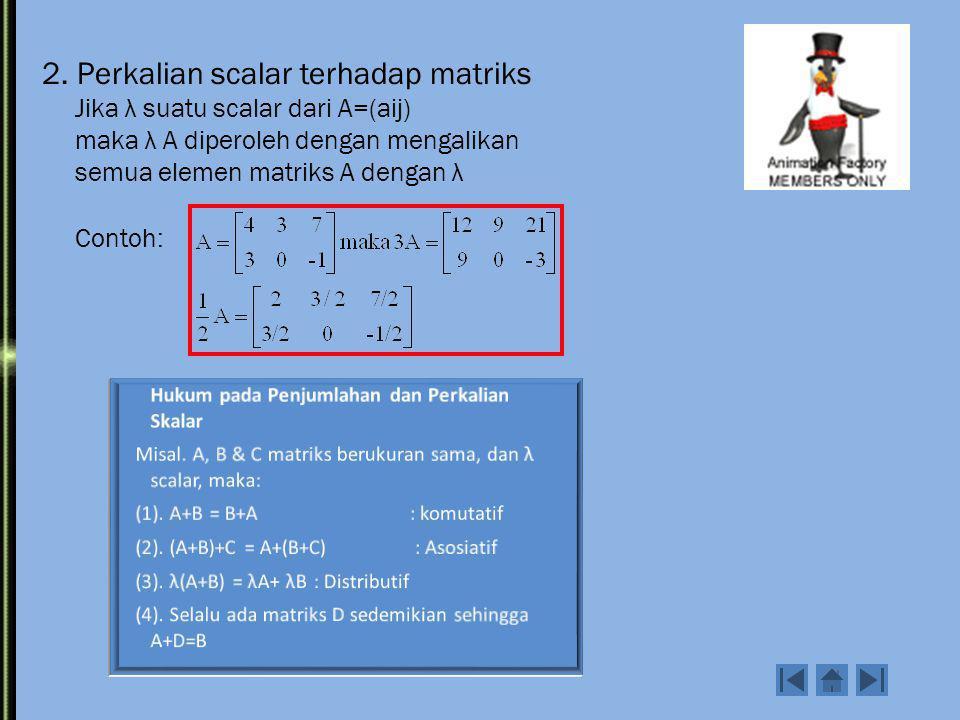 PENGURANGAN MATRIKS A - B 1 2 6 3 2 4 6 3 A = B = - = -2 -=00