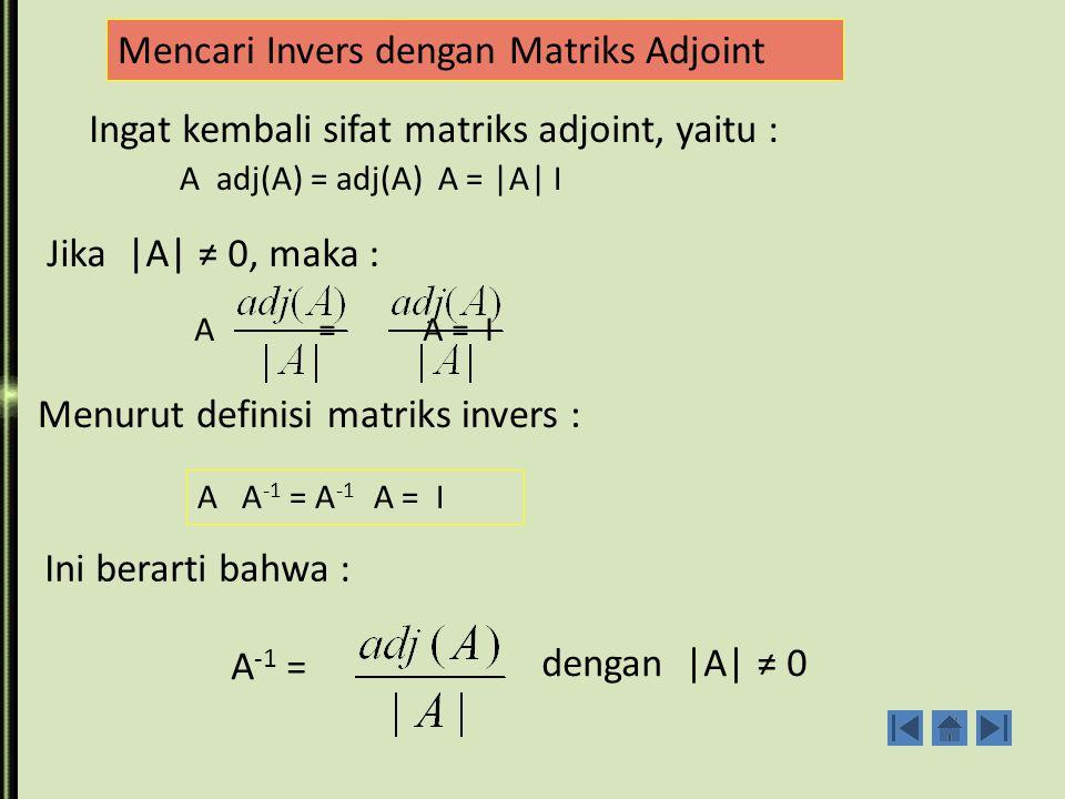 INVERS MATRIKS Definisi : Jika A dan B adalah sebarang matriks bujur sangkar sedemikian sehingga AB=BA=I.