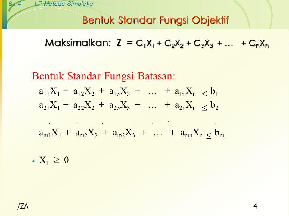 6s-15LP Metode Simpleks LINEAR PROGRAMMING METODE SIMPLEKS  Fungsi tujuan : Maksimumkan Z - 3X 1 - 5X 2 = 0  Fungsi batasan (1) 2X 1 + X 3 = 8 (2) 3X 2 + X 4 = 15 (3) 6X 1 + 5X 2 + X 5 = 30