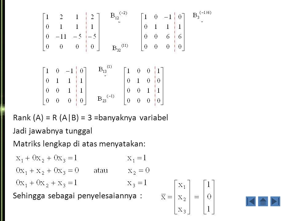 Contoh 2. Selesaikan sistem persamaan linier non homogen Di bawah ini : Jawab :