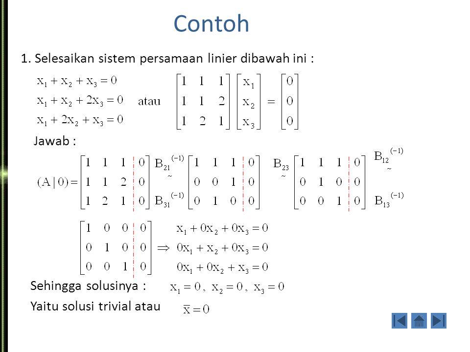 Sistem Persamaan Linier Homogen Bentuk umum: Ax = 0, yaitu: a 11 x 1 + a 12 x 2 +...