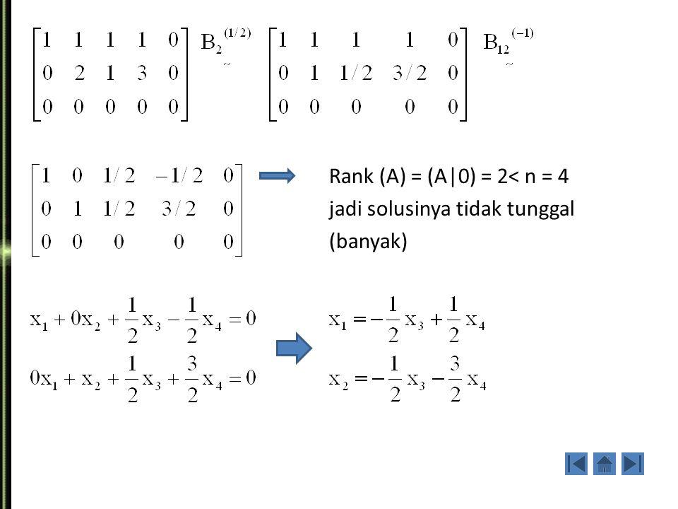 2. Selesaikan sistem persamaan linier di bawah ini : Jawab :