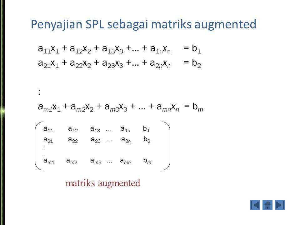 Penyajian SPL dengan persamaan matriks a 11 x 1 + a 12 x 2 + a 13 x 3 +…+a 1n x n = b 1 a 21 x 1 + a 22 x 2 + a 23 x 3 +…+a 2n x n = b 2 : a m1 x 1 + a n2 x 2 + a n3 x 3 + …+a nn x n = b m x = b = matriks koefisien SPL umum: a 11 a 12 a 13 a 1n a 21 a 22 a 23 a 2n : a m1 a m2 a m3 a mn x1x2:xmx1x2:xm b1b2:bmb1b2:bm A = Ax = b
