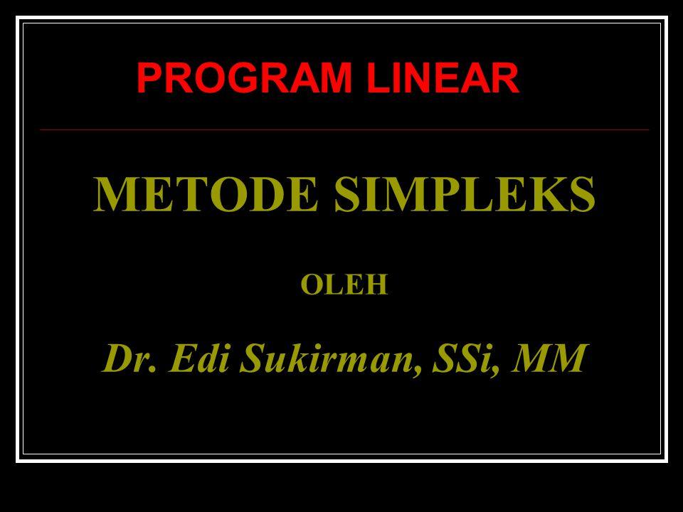 Contoh 2 : Model Program Linear 1.Fungsi Tujuan : Maksimumkan : Z=15X 1 + 10X 2 (Dlm Rp10.000) 2.