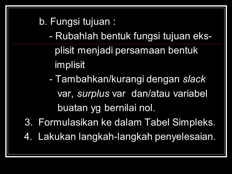 b. Fungsi tujuan : - Rubahlah bentuk fungsi tujuan eks- plisit menjadi persamaan bentuk implisit - Tambahkan/kurangi dengan slack var, surplus var dan