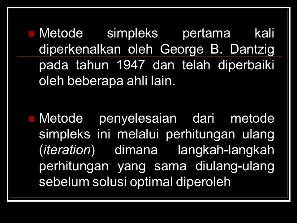 Penyelesaian Dengan Metode Simpleks Syarat : Model program linier (  Canonical form) harus dirubah dulu kedalam suatu bentuk umum yang dinamakan bentuk baku (standard form).
