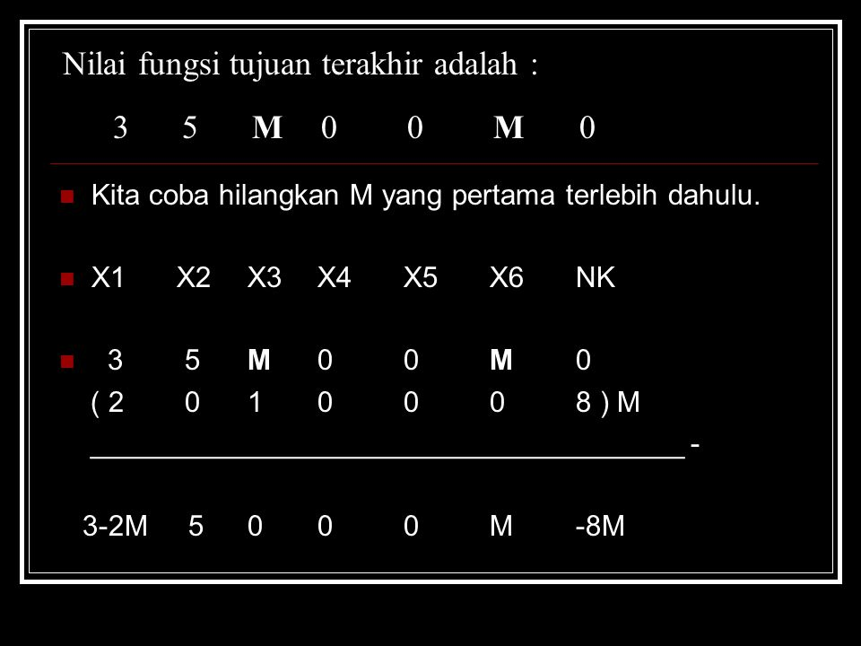 Nilai fungsi tujuan terakhir adalah : 3 5 M00M0 Kita coba hilangkan M yang pertama terlebih dahulu. X1 X2 X3X4X5X6NK 3 5 M00M0 ( 2 0 10008 ) M _______