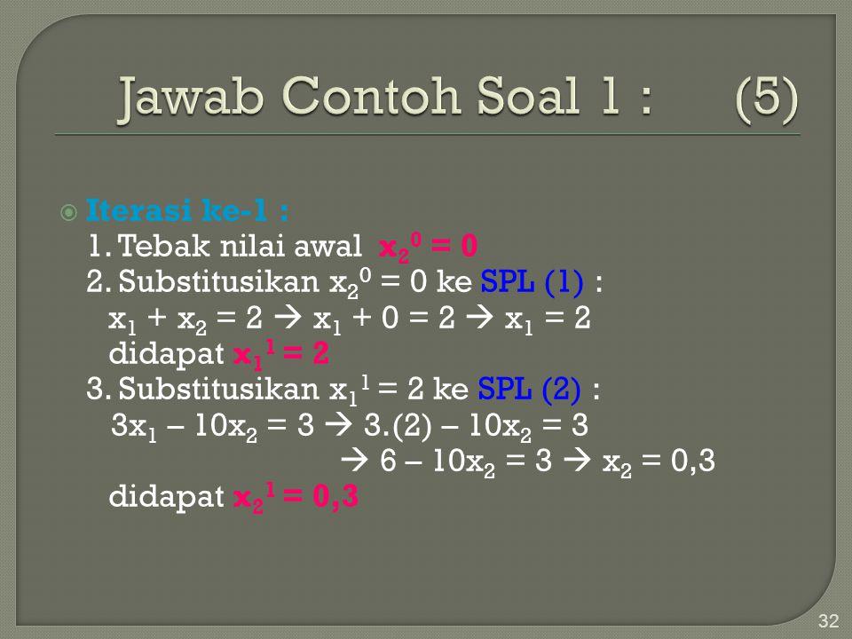 32  Iterasi ke-1 : 1. Tebak nilai awal x 2 0 = 0 2. Substitusikan x 2 0 = 0 ke SPL (1) : x 1 + x 2 = 2  x 1 + 0 = 2  x 1 = 2 didapat x 1 1 = 2 3. S