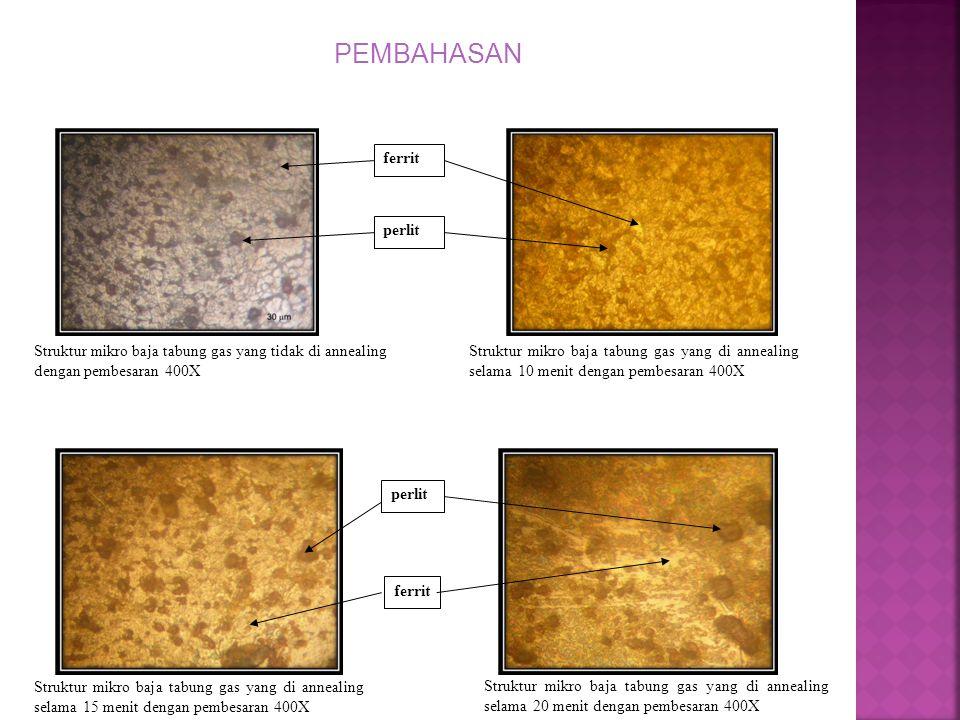 PEMBAHASAN Struktur mikro baja tabung gas yang tidak di annealing dengan pembesaran 400X ferrit perlit Struktur mikro baja tabung gas yang di annealin